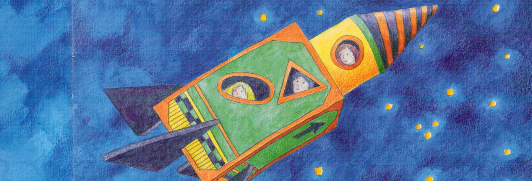 Zeichnung von drei Kindern in einer Rakete