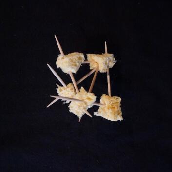 Selbstgebastelter Stern aus Schwammstücken und Zahnstochern