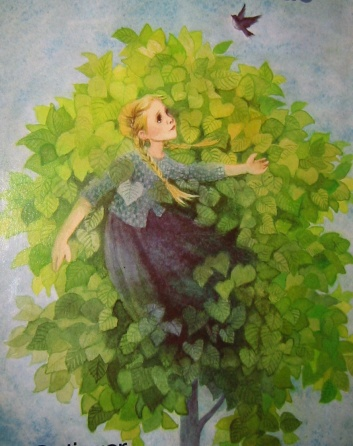 Zeichnung von Mädchen zwischen den Blättern eines Lindenbaumes.